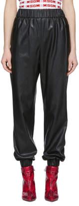 MSGM Black Faux Leather Lounge Pants