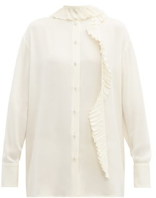 Valentino Pleated Ruffle-trim Silk-crepe Blouse - Womens - Ivory