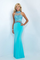 Blush Lingerie Embellished High Neck Jersey Sheath Gown 11079