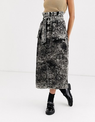 Asos DESIGN washed midi skirt with d-ring and pockets