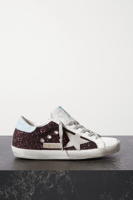 Golden Goose Superstar Distressed Glittered Leather Sneakers - Pink