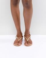 Asos Design DESIGN Fixing Leather Embellished Flat Sandals