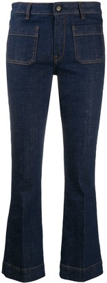 Fay Mid-Rise Cropped Kick Flare Jeans