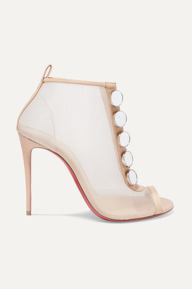 Christian Louboutin Marika 100 Leather-trimmed Mesh Ankle Boots - Metallic