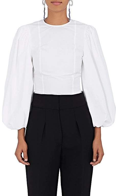 Calvin Klein Women's Cotton Poplin Puff-Sleeve Blouse