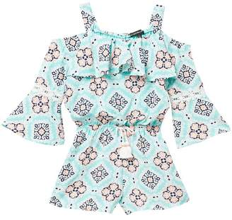 My Michelle mymichelle Printed Ruffle Cold Shoulder Romper (Big Girls)