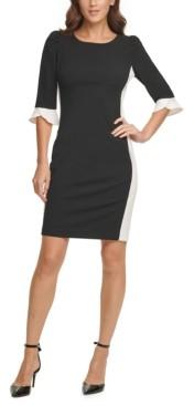 DKNY Contrast-Sleeve Sheath Dress