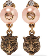 Gucci Gold-tone, Faux Pearl And Swarovski Crystal Clip Earrings - Blush