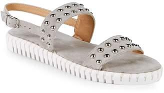 Steven by Steve Madden Leather Studded Flat Sandals