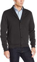 Perry Ellis Men's Shawl Button Front Mix Media Cardigan