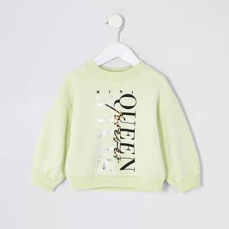 River Island Mini girls yellow 'Style Queen' sweatshirt