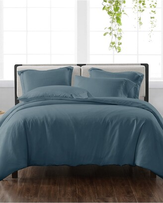 Cannon Solid Dark Blue 3Pc Duvet Cover Set