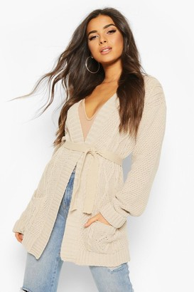 boohoo Cable Boyfriend Belted Cardigan
