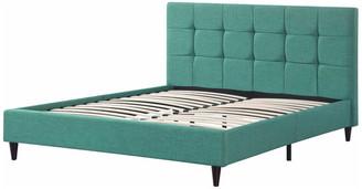 Homeroots Furniture Modern Upholstered Square Stitched Platform Bed, Wooden Slats, Blue Ea