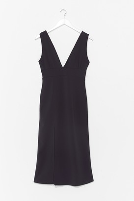 Nasty Gal Womens Deep V Neck Wide Strap Midi Dress - Black - 4