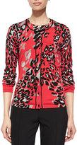 Escada Leopard-Print Beaded-Neckline Cardigan, Multi Colors