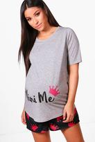 Boohoo Maternity Alice Mini Me PJ Set grey