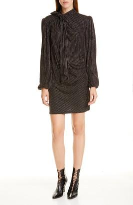 Marc Jacobs The Disco Metallic Stripe Long Sleeve Minidress