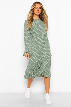 boohoo Long Sleeve Tie Waist Floral Maxi Dress