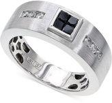 Effy Men's Black and White Diamond Ring in 14k White Gold (1/2 ct. t.w.)