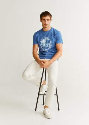 MANGO MAN - Cotton printed t-shirt blue - XS - Men