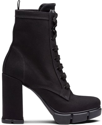Prada Washed-Effect Denim Booties