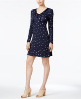 Kensie Dot-Print Lace-Up-Neck Dress