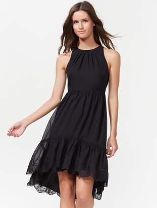 Halston Hi-Low Dress With Embroidered Hem