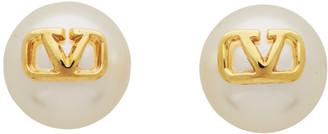 Valentino Gold Garavani Pearl VLogo Earrings