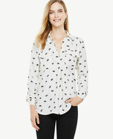 Ann Taylor Tossed Floral Camp Shirt