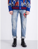 Gucci Heart-embroidered Regular-fit Straight Jeans