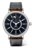 IWC SCHAFFHAUSEN - Portofino Automatic Moon Phase 37 Alligator, 18-karat White Gold And Diamond Watch