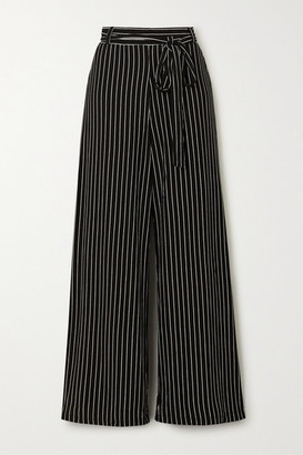 Leset Amber Belted Pinstriped Stretch-jersey Wide-leg Pants - Black