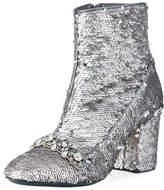 No.21 No. 21 Sequin-Embellished Zip Bootie, Silver