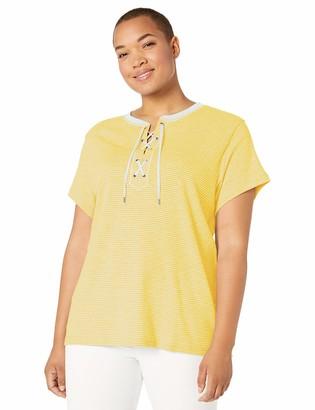 Chaps Women's Plus Size Lace Up Cotton Top