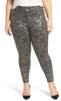 Melissa McCarthy Plus Size Women's Stretch Foil Print Pencil Jeans