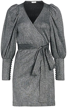 Rhode Resort Frankie Puff-Sleeve Metallic-Knit Wrap Dress