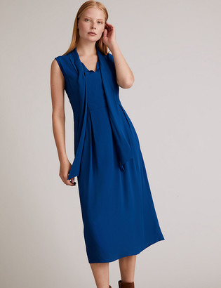 Marks and Spencer Crepe Sleeveless Tie Neck Waisted Dress