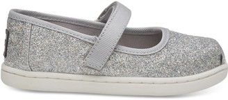 Toms Silver Iridescent Glimmer Tiny Mary Jane Flats