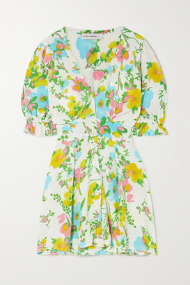 Faithfull The Brand Caliente Floral-print Crepon Mini Dress - White