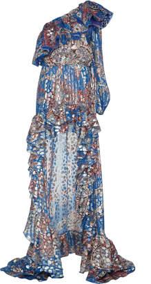 Dundas One-Shoulder Metallic Fil Coupé Silk-Blend Maxi Dress