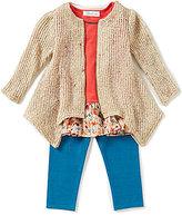 Bonnie Jean Little Girls 2T-6X Printed Peplum Top, Tweed Cardigan, & Leggings Set