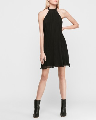 Express Pleated Trapeze Halter Dress