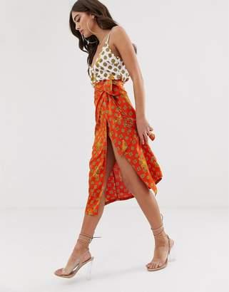 Never Fully Dressed wrap satin midi skirt in orange tiger print-Multi