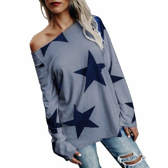 YiMiny Tops for Women Plus Size Blouse Girl Strapless Star Long Sleeve Crop Jumper Pullover Sweatshirt Gray