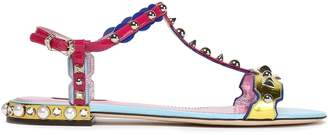 Dolce & Gabbana Studded Color-block Metallic And Patent-leather Sandals