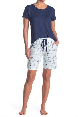 Izod Short Sleeve Top & Bermuda Shorts Pajama Set