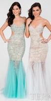 Terani Couture Flirty Beaded Tulle Scoop Cutout Prom Dress