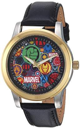 Marvel Men's Classic Analog-Quartz Watch with Leather-Synthetic Strap