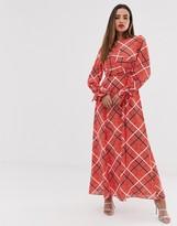 Asos Design DESIGN wrap maxi dress in textured check